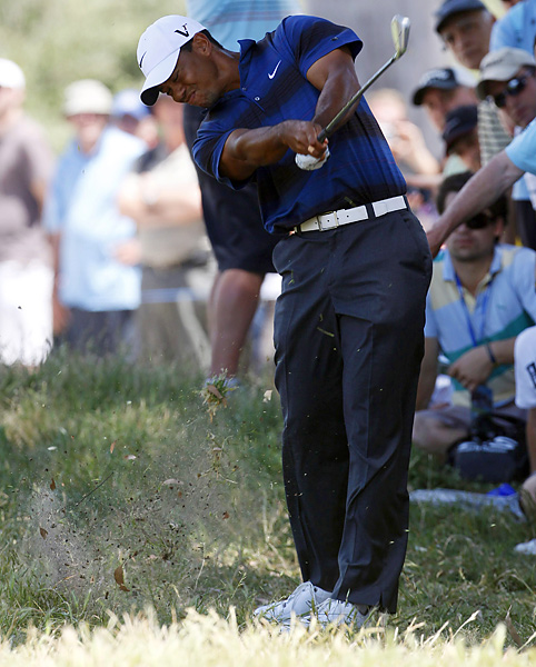 Woods finished with a one-over 72 to fall nine shots behind the leader, Adam Bland.