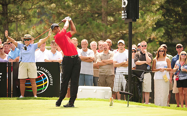 It was Woods's first tournament since finishing tied for fourth at the Masters.