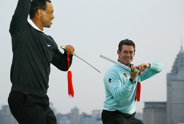 Tiger Woods's run as the world's No. 1 player finally ended after 281 weeks when England's Lee Westwood replaced him atop the world rankings. In his first appearance as No. 1, at the HSBC Champions in Shanghai, Westwood posed with Woods for a photo op in which they wielded tai chi swords.