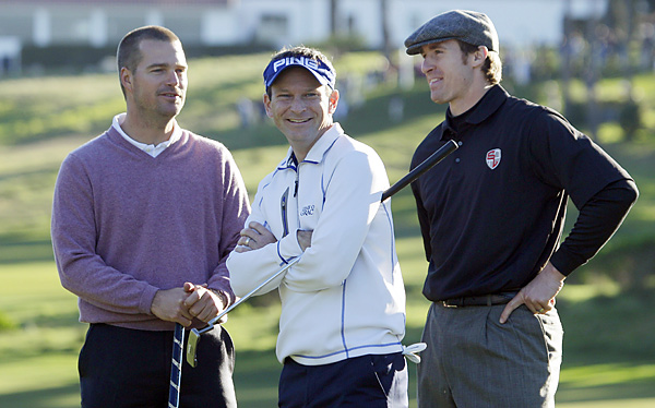 Chris O'Donnell (left) and Drew Brees (right) played with Mark Wilson during the opening two rounds.