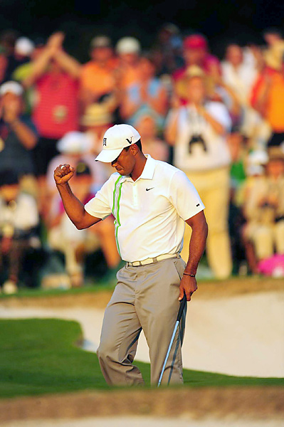 Woods finished his round in style, with a birdie on the 18th.