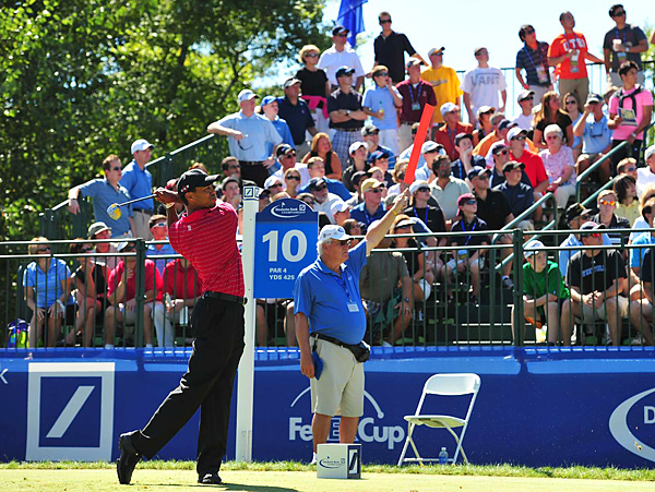 Woods finished tied for 11th place and qualified for the third round of the FedEx Playoffs, which will be held this week at Cog Hill.