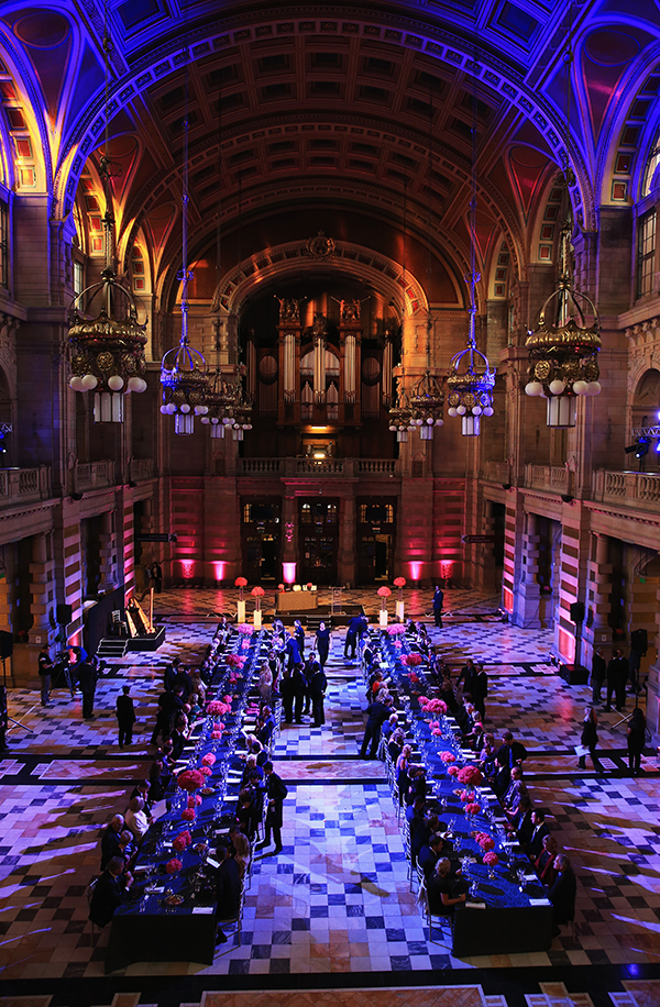 The lavish dinner setting at Kelvingrove Art Gallery and Museum on Sept. 24, 2014 in Glasgow, Scotland.