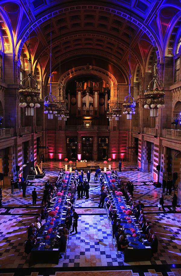 The lavish dinner setting at Kelvingrove Art Gallery and Museum on Sept. 24, 2014 in Glasgow, Scotland.