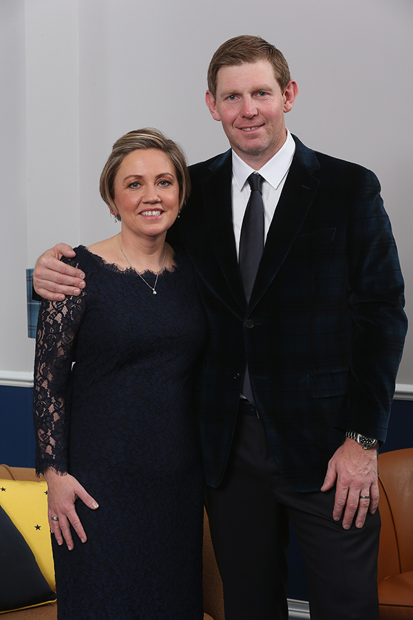 Stephen Gallacher of Europe and his wife Helen Gallacher pose for a photograph at the Gleneagles Hotel before leaving for the Ryder Cup Team Gala Dinner.