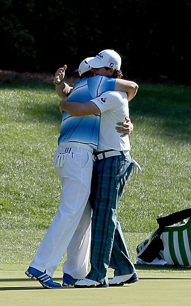 Bro-Hug Style Points                       For Sergio Garcia and Rory McIlroy, it was a commendable display of manly affection at the all-male Augusta National, but a) they held it too long; b) they nuzzled a bit much; and c) matching one's shoes and shirt, as a rule, is suspect.