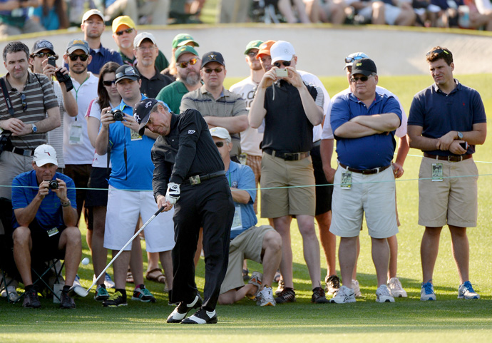 Even though he's not playing in the tournament, former Masters champion Gary Player played a practice round Tuesday. He will hit the ceremonial first tee shot Thursday with Jack Nicklaus and Arnold Palmer.