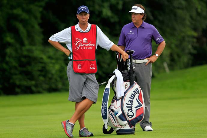 This event is the first time Phil Mickelson, with caddie Bones Mackay in photo, has missed three straight cuts in one tournament. He didn't advance to weekend play at the Greenbrier Classic in 2011 or 2012.