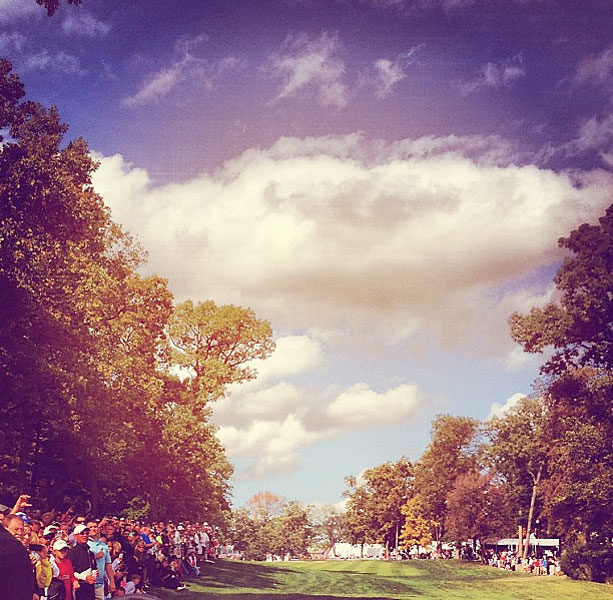 @stephaniemwei: View from the 18th tee. #wednesdaypractice #tigerwoods #scaryhordes