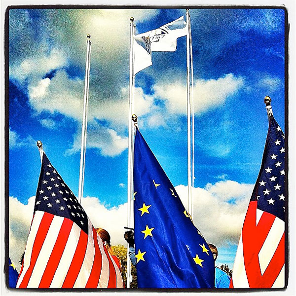 @sportsillustrated: (via @shoot802) Flags at the #rydercup. (By @shoot802) #USA #golf #pga #america