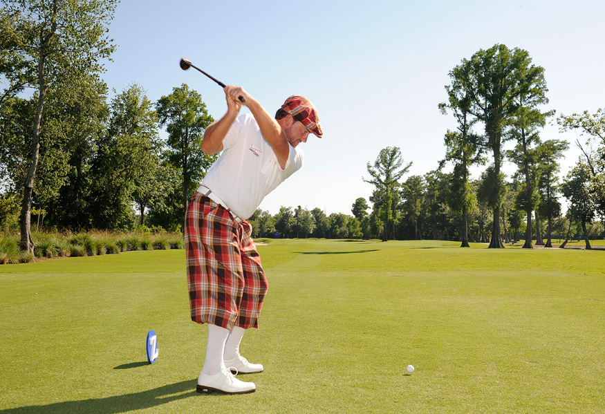 McDowell went all-in with tartan plus fours, a driving cap and a bow tie.