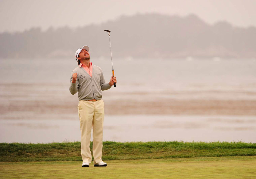 8. Graeme McDowell                       I first fell for Graeme's sartorial sensibility when he won the 2010 U.S. Open at Pebble Beach wearing his gray cardigan with a salmon pink polo. What a combination! He looked immaculate in the winner's circle against the misty gray of the Pacific and the green of the fairway. Now, McDowell's affinity for cardigans seems to have faded in favor of zip-up pullovers, but he's still one of the few players on Tour capable of showcasing bright, colorful plaids and white belts with a natural flair.