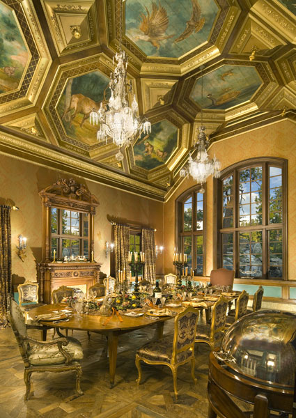 The owners wanted the main house, which has nine bedrooms, 14 full baths and five half baths, to look like it had been there for 100 years. The dining room features 300-year-old plank flooring reclaimed from a French manor.