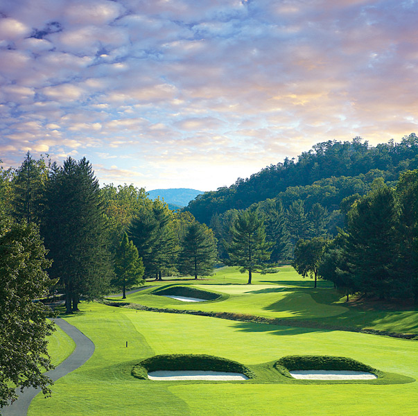 5. The Greenbrier, White Sulphur Springs, W.Va.; 304-536-1110, greenbrier.com                     The Greenbrier hotel is an enormous Georgian structure with tall white columns, yet it fits comfortably into a landscape of trees, flowers and gentle mountain slopes. A truly dizzying array of activities await, including such unusual fare as sporting clays, bowling and first-run movies, but with three courses, including the Jack Nicklaus-designed Greenbrier (a past Ryder Cup and Solheim Cup venue) and C.B. Macdonald's Old White (now a TPC course and current host to the PGA Tour), golf is king.