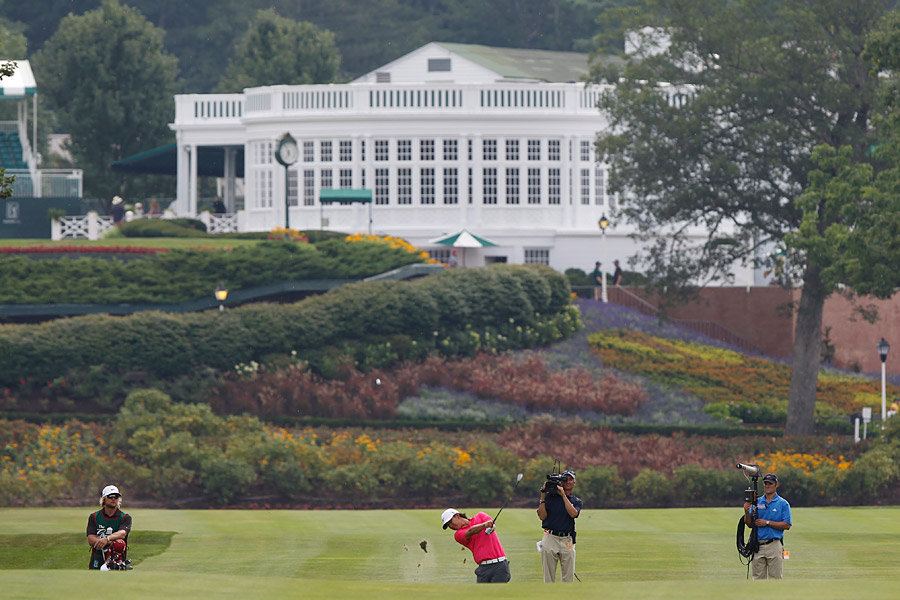 10. The Old White TPC, White Sulphur Springs, W.Va. (Greenbrier Classic)                       Par: 70                       Yards: 7,274                       Scoring Average: 70.593 -- 0.593 strokes over par                                              Anthony Kim on the first hole of the Old White TPC at the 2011 Greenbrier Classic.