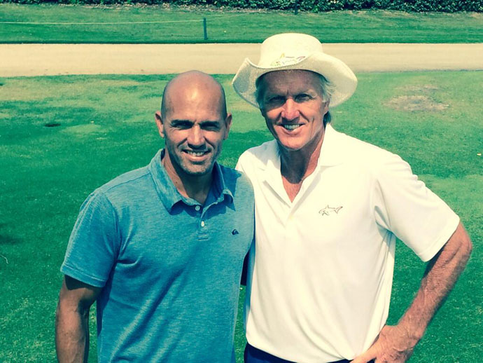@SharkGregNorman: When there is no surf we hit the turf. @kellyslater very talented golfer to boot & @GregJrNorman. Thx KS #attacklife