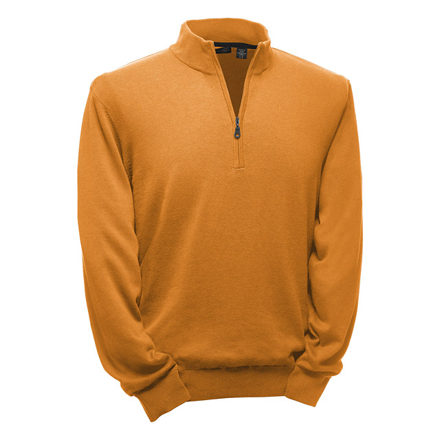 Greg Norman Lined Pima Zip Sweater in Saffron                       $99; gregnormancollection.com                       Composed of Pima cotton and Modal yarn for additional softness, this Greg Norman sweater is lined for extra wind protection. The fabric is UPF 50+, which means that even if you're battling the cold and wind, you'll still be protected from the sun's radiation.