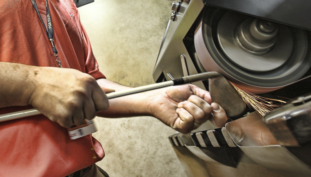 Sparks fly in the Callaway equipment trailer as a wedge is made to order.