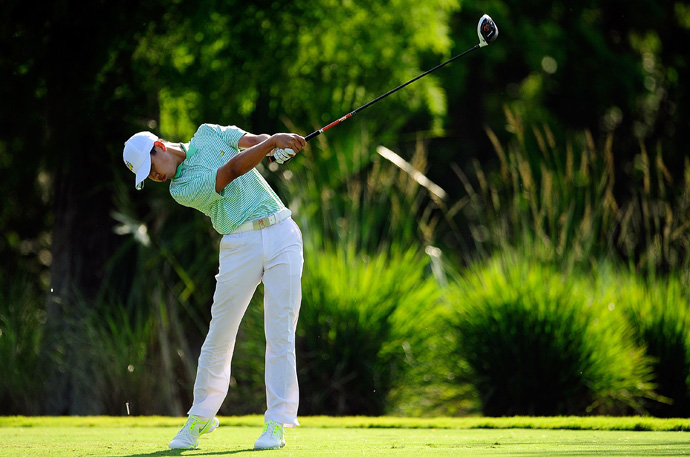 Two weeks after making the cut at the Masters, Guan Tianlang shot a three-under 69 to easily make the cut at the Zurich Classic.