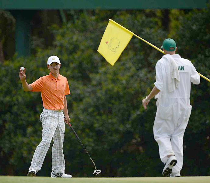 Before Tiger's violation came to light, there was already an uproar at Augusta National over a different rules penalty. 14-year-old amateur Guan Tianlang, the youngest-ever Masters participant, was shockingly penalized one stroke for slow play. The penalty nearly cost Guan the cut, but he rolled in a long putt on 18 to make it to the weekend.
