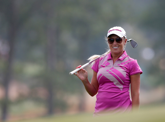 Natalie Gulbis was five over par in her round when play was suspended due to fog.