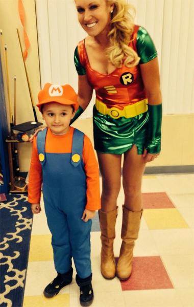 @natalie_gulbis: Halloween at the Boys and Girls Club. How cute is mini Mario!!