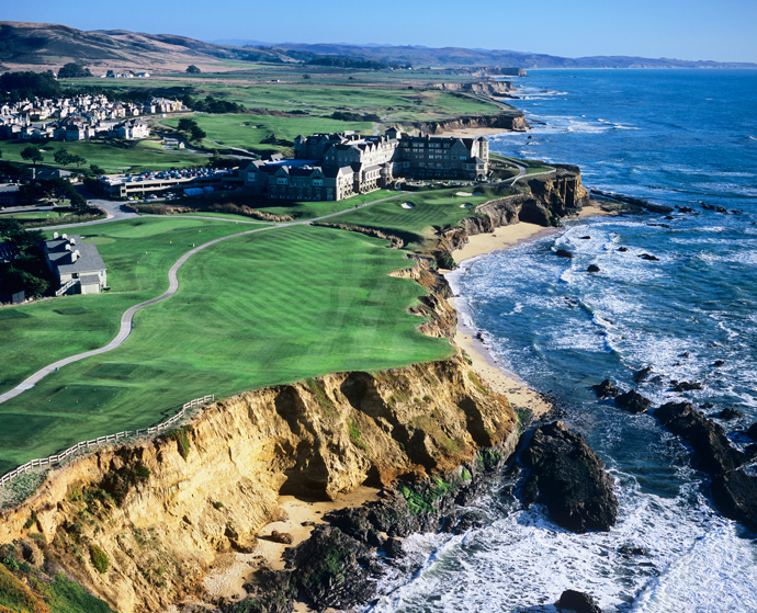 Half Moon Bay (Old Course) -- Par 4, 413 yards                     After teasing you all day with glimpses of the ocean, the course delivers with this dramatic treat. From a tee overlooking a crescent-shaped expanse of coastline, you play just short of a craggy inlet then up toward a multi-tiered green cut so close to the bluffs, it feels as if it's ready to tumble to the sea.