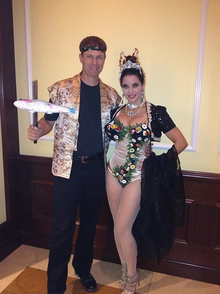 "Bob and Liz Estes""Sushi & the Sushi Chef. Sushi won best costume prize at 4 Seasons Westlake Village party in CA!"" Via Twitter."