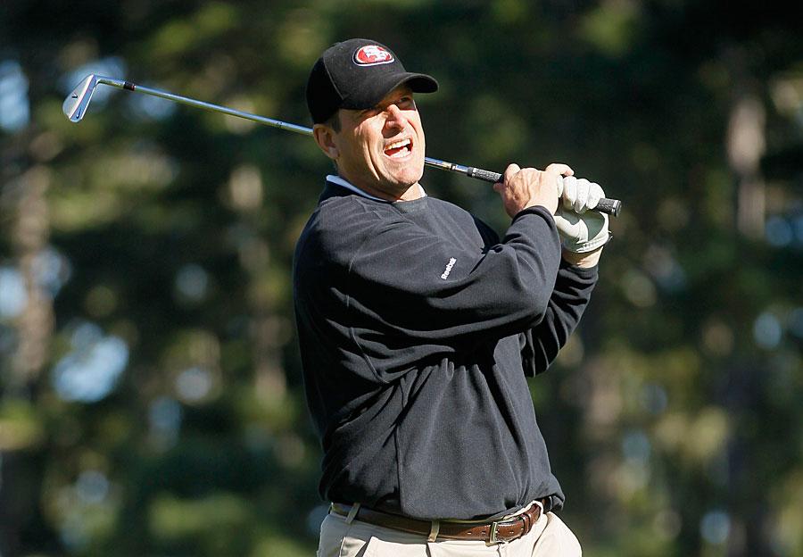 San Francisco 49ers head coach Jim Harbaugh shot a 61 with pro-am partner Ryan Moore.