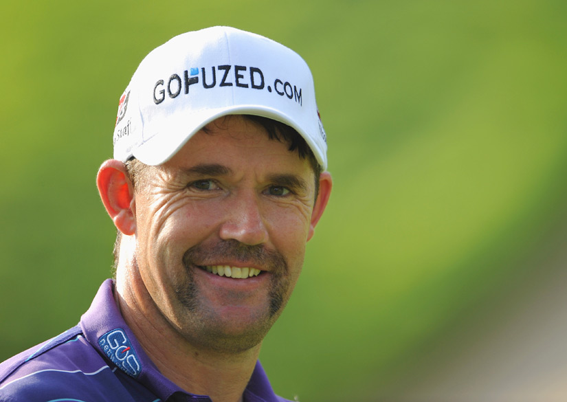 "Padraig Harrington sported a Fu Manchu moustache in honor of ""Movember."" During November, men grow moustaches to raise awareness for men's health issues."