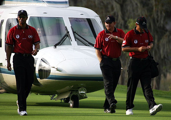 Monday at the Tavistock Cup                       Tiger Woods, J.B. Holmes and Charles Howell, all members of Team Isleworth, arrived at Lake Nona for the Tavistock Cup on a helicopter.