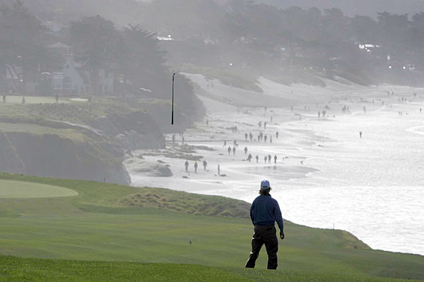Charley Hoffman sent his club airborne on the scenic 9th hole at Pebble Beach in 2009.