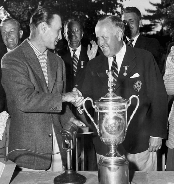 Ben Hogan, 1950 U.S. Open                       In February of 1949, Hogan nearly died in a car crash with a Greyhound bus. His doctor doubted he would ever walk again, but less than a year and a half later, with his legs wrapped and fighting through incredible pain, Hogan won the 1950 U.S. Open at Merion.