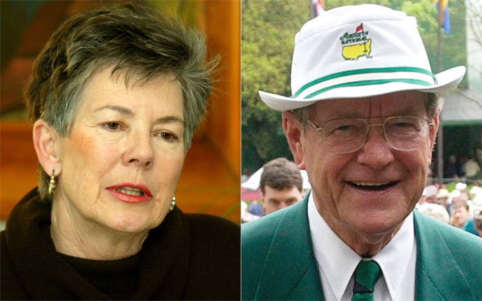 "Martha Burk and Hootie Johnson                     Never mind that Burk's childhood nickname was also ""Hootie."" That's where the similarities between her and the former Masters chairman end. In 2002, Burk launched a protest against Augusta for its failure to admit female members. The other Hootie countered that the club would do things on its own time and ""not at the point of a bayonet."" In 2012, it finally happened: two women were admitted to the famous club, Condoleeza Rice and Darla Moore. ""It's about 10 years too late for the boys to come into the 20th century, never mind the 21st century,"" Burk said. ""But it's a milestone for women in business."" Zing!"
