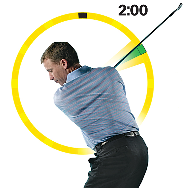 HIT THE SWEET SPOT                                              Swing the shaft to 2:00                       Imagine a clock off to your right with the center of the face even with your shoulders. Make a full backswing, hold it and check what part of the clock the shaft crosses.                                              Solid — When the shaft crosses 2:00, you're correctly on plane and set to deliver a centered strike.