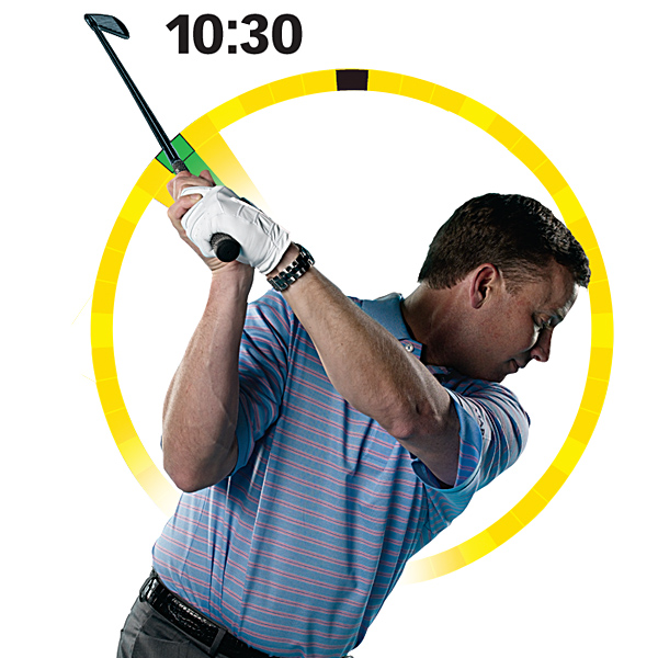 SHAPE SHOTS                                          Change times to shape shots                     Picture the same clock as above, but this time it's off to your left. Try to swing your hands up to 10:30. From this position you can control the curve of your shots by changing the angle of the clubface.                                          Draw — Bow your left wrist to point the clubface up. Maintain this closed face position and the same swing plane (remember, 7:00 to 1:00) and you'll hit a draw.