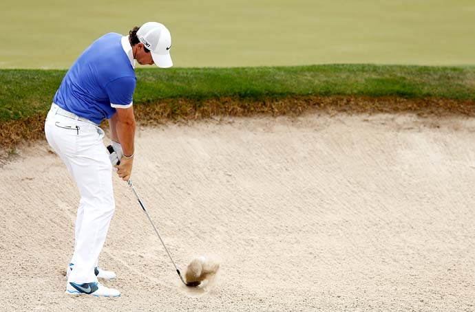 Rory McIlroy hits from a bunker on the eighth hole. McIlroy, who shot 70 on Sunday, made a lot of San Antonio fans happy when he decided over lunch Friday to play the Valero Texas Open.