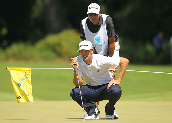 was in contention for most of the day on Sunday, but struggled to a one-over 72.