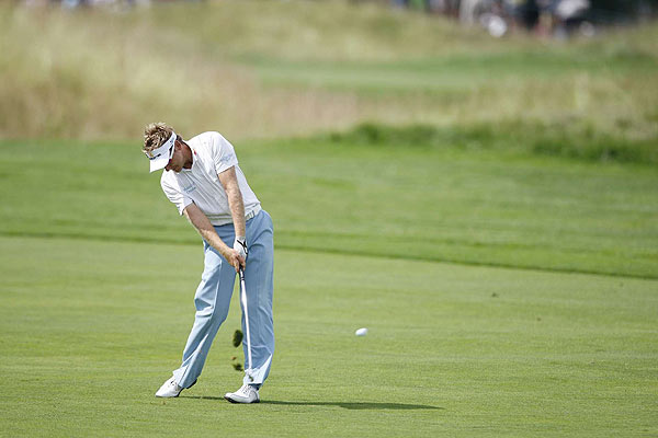 Ian Poulter, starting on the back nine, opened with a birdie but made three bogeys before making the turn.