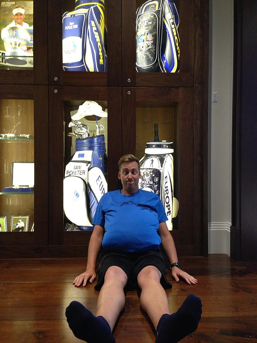 Ian Poulter submits his entry, complete with him not so-subtly stuffing his shirt to replicate Dufner's stomach while also not so-subtly sitting in front of a trophy case for his golf clubs.