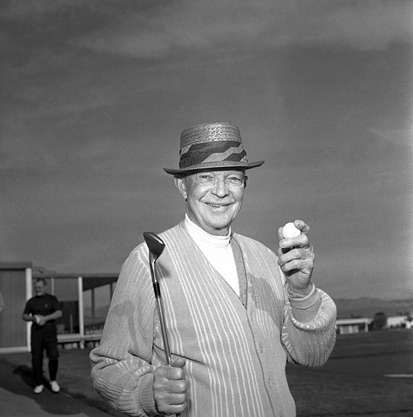 Dwight Eisenhower had a putting green built at the White House, and he was such a frequent guest at Augusta National that he was made a member and even got his own cabin. He became good friends with Arnold Palmer and helped popularize the game in America.