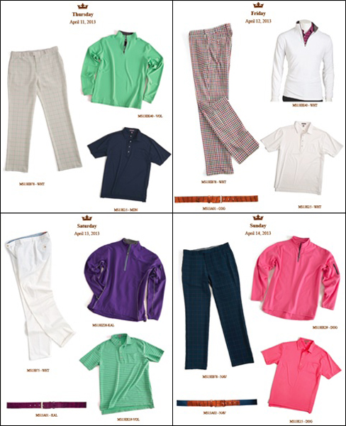 Brandt Snedeker's outfits are a little bit more mellow than those of Peter Millar stablemate Bill Haas, but he will still get to showcase his fair share of spring colors. I'm really looking forward to Friday's check-print pants.