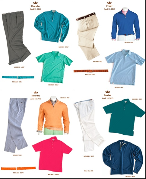 I have always been a fan of Bill Haas' style, and his 2013 Masters ensembles are predictably excellent. Peter Millar has presented the springiest collection of colors I've seen thus far, and the bright sweater combinations are beautiful. Plus, the colorful and sophisticated belts add a nice touch.