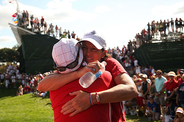 """""""I would love to be a captain someday,"""" said Juli Inkster, who came back to halve her match against Gwladys Nocera."""