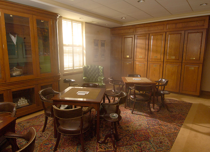 The Champions Locker Room offers a respite, where green-jacketed pros can reminisce and relax before and after rounds.