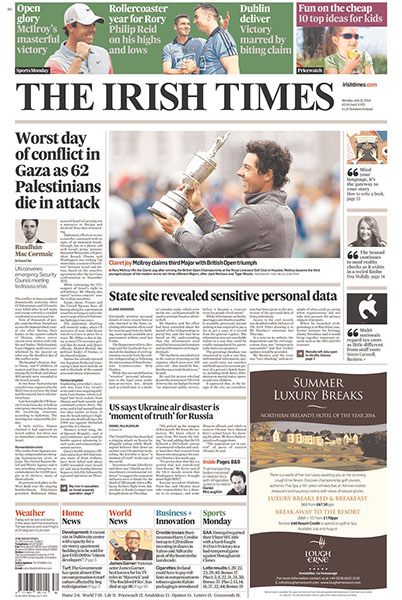 "The Irish Times - All major papers in Ireland covered McIlroy's victory. ""Claret Joy: McIlroy Claims Third Major with British Open Triumph,"" Monday, July 21, 2014."