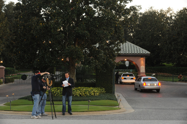 The media was quick to converge on Isleworth after the crash was first reported.