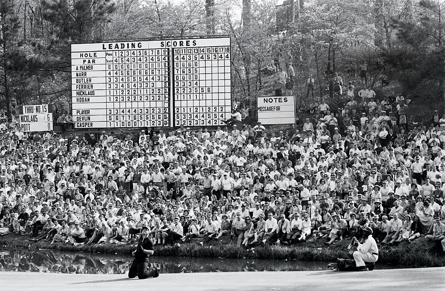 Nicklaus, shown here missing a putt at No. 16, tied for second in 1964. Palmer won his fourth and final green jacket by six strokes.
