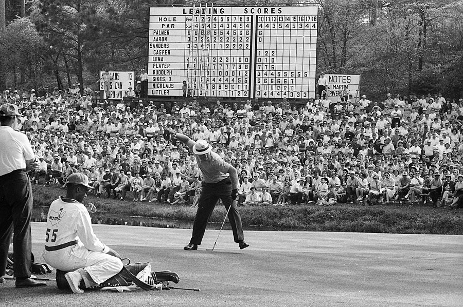 Nicklaus's 17-under record was tied by Ray Floyd in 1976 but wasn't broken until 1997, when Tiger Woods won by 12 strokes with a total of 18-under 270.