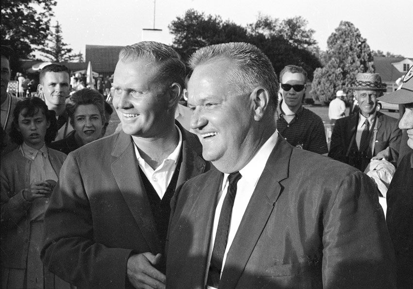 Nicklaus celebrated with his father after winning in 1963.